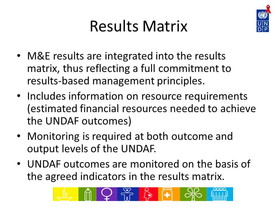 Results Matrix M&E results are integrated into the results matrix, thus reflecting a full commitment to results-based management principles.