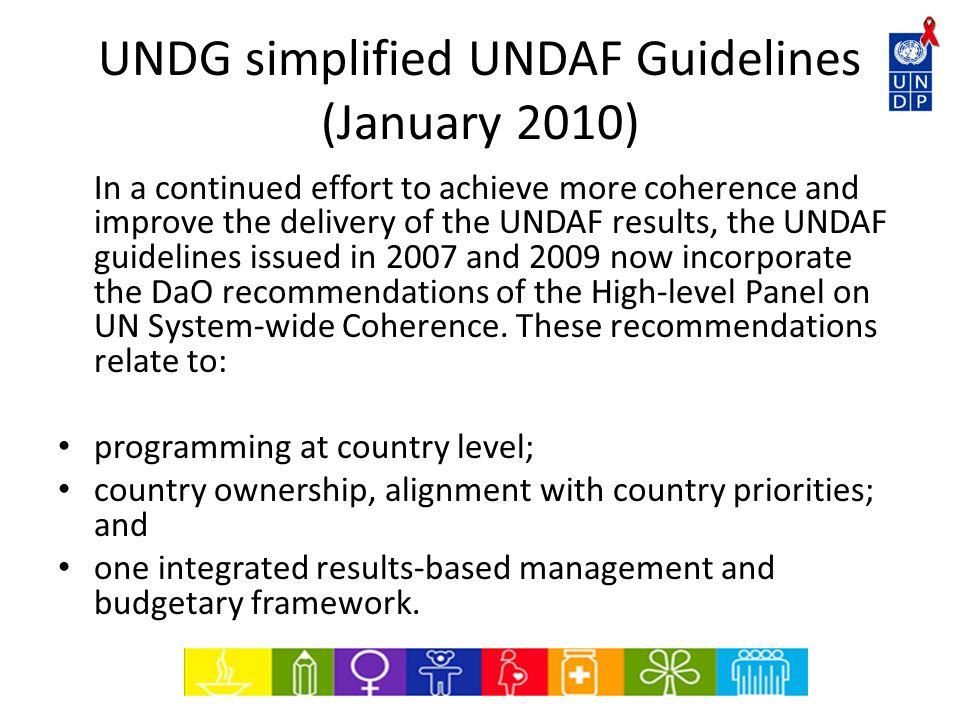 UNDG simplified UNDAF Guidelines (January 2010)