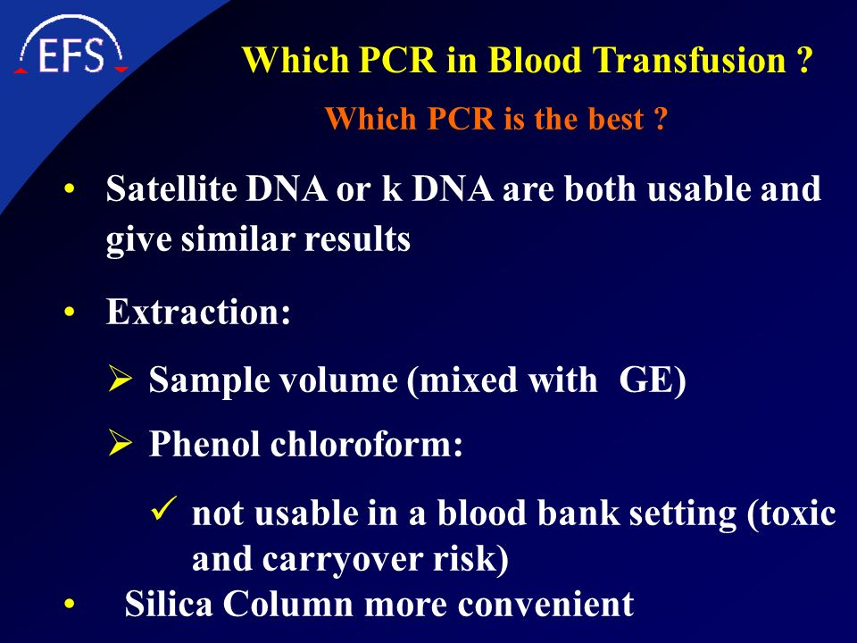 Which PCR in Blood Transfusion