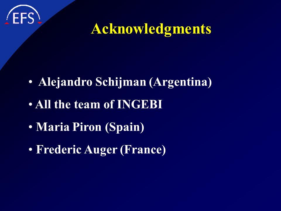 Acknowledgments Alejandro Schijman (Argentina) All the team of INGEBI