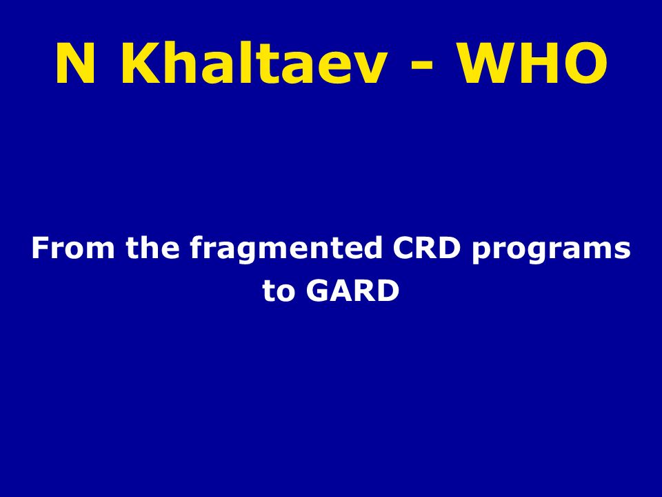 From the fragmented CRD programs