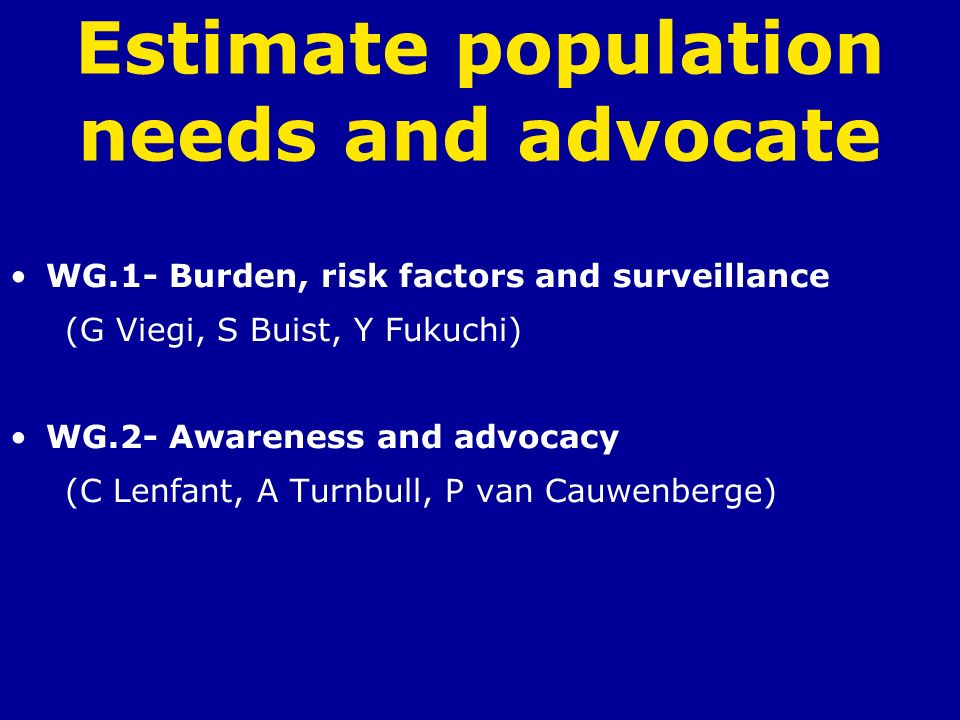 Estimate population needs and advocate