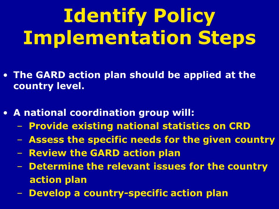 Identify Policy Implementation Steps
