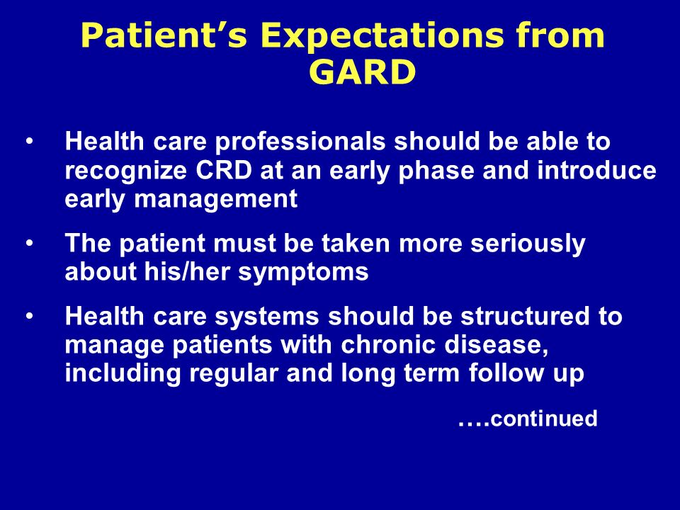 Patient's Expectations from GARD