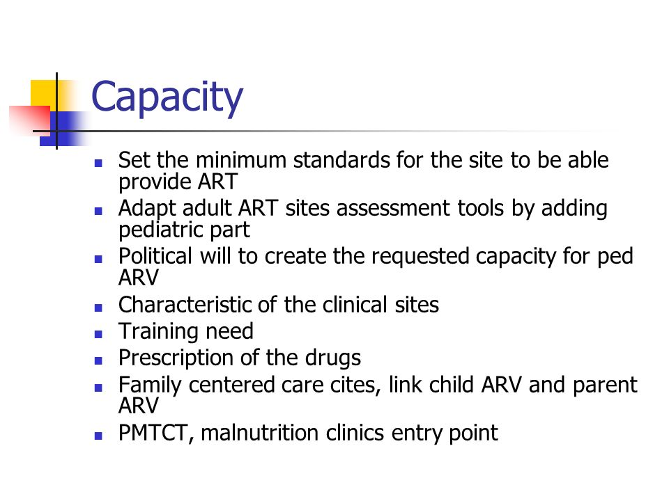 Capacity Set the minimum standards for the site to be able provide ART