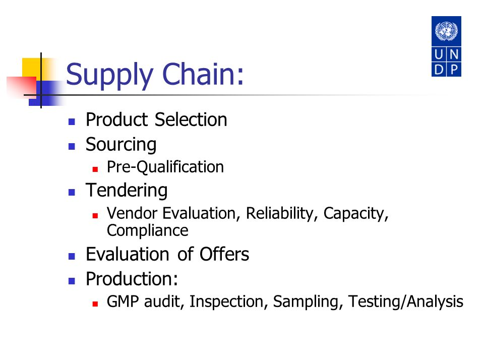 Supply Chain: Product Selection Sourcing Tendering