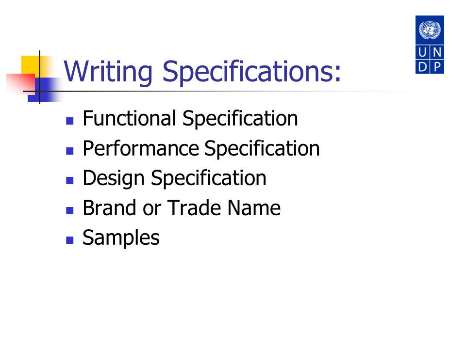 Writing Specifications: