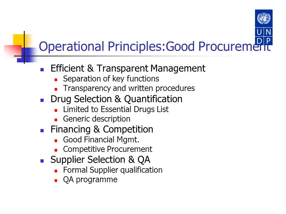 Operational Principles:Good Procurement