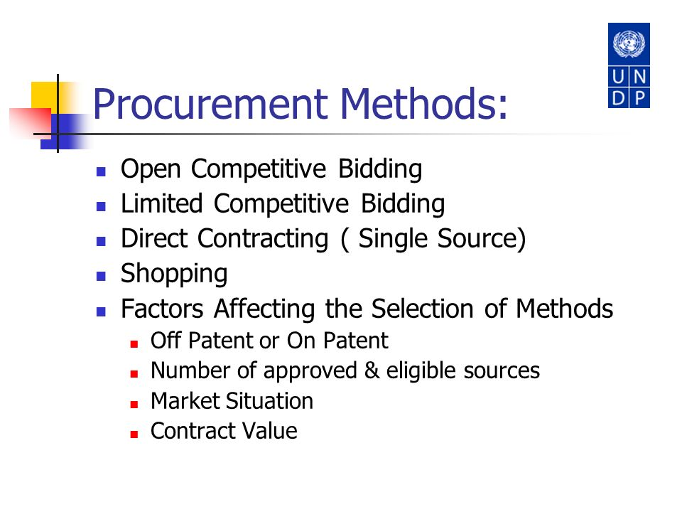 Procurement Methods: Open Competitive Bidding