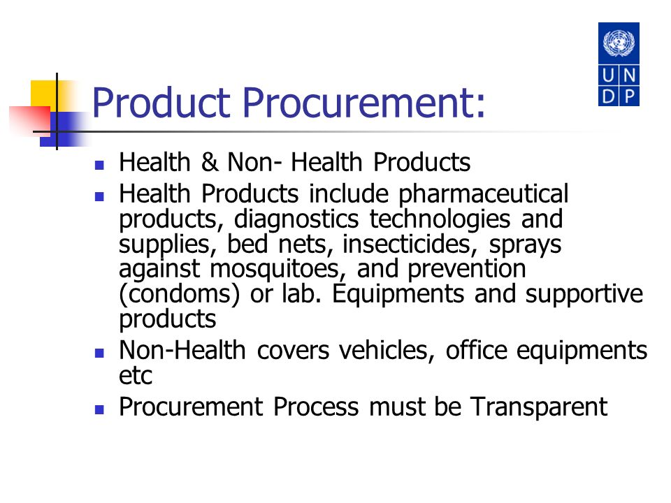 Product Procurement: Health & Non- Health Products