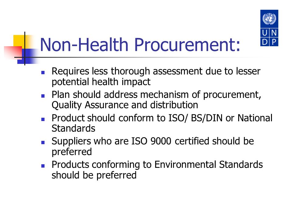 Non-Health Procurement:
