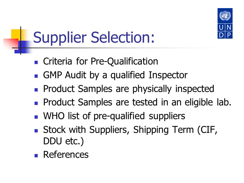 Supplier Selection: Criteria for Pre-Qualification