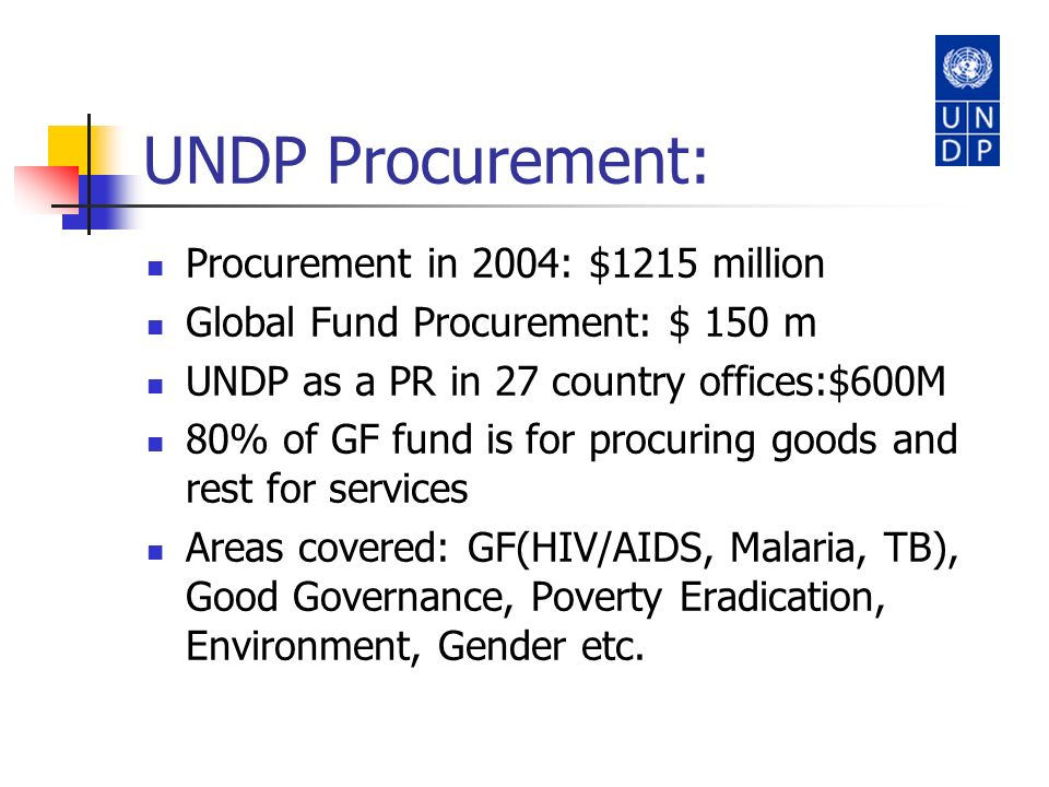 UNDP Procurement: Procurement in 2004: $1215 million