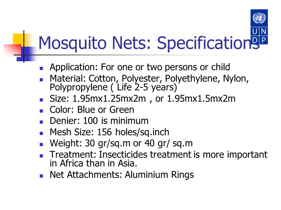 Mosquito Nets: Specifications