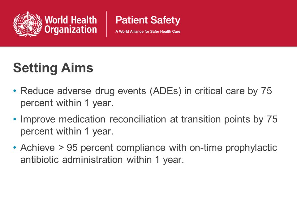 Setting Aims Reduce adverse drug events (ADEs) in critical care by 75 percent within 1 year.