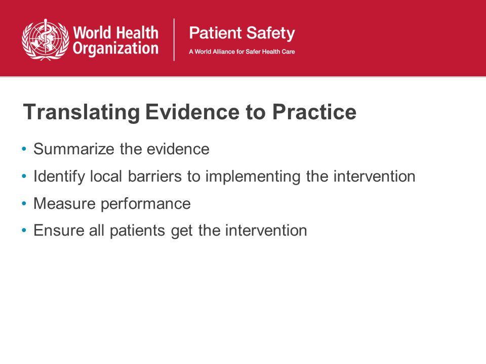 Translating Evidence to Practice