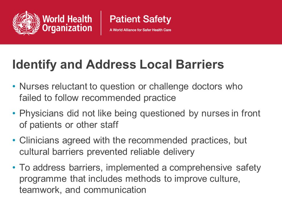Identify and Address Local Barriers