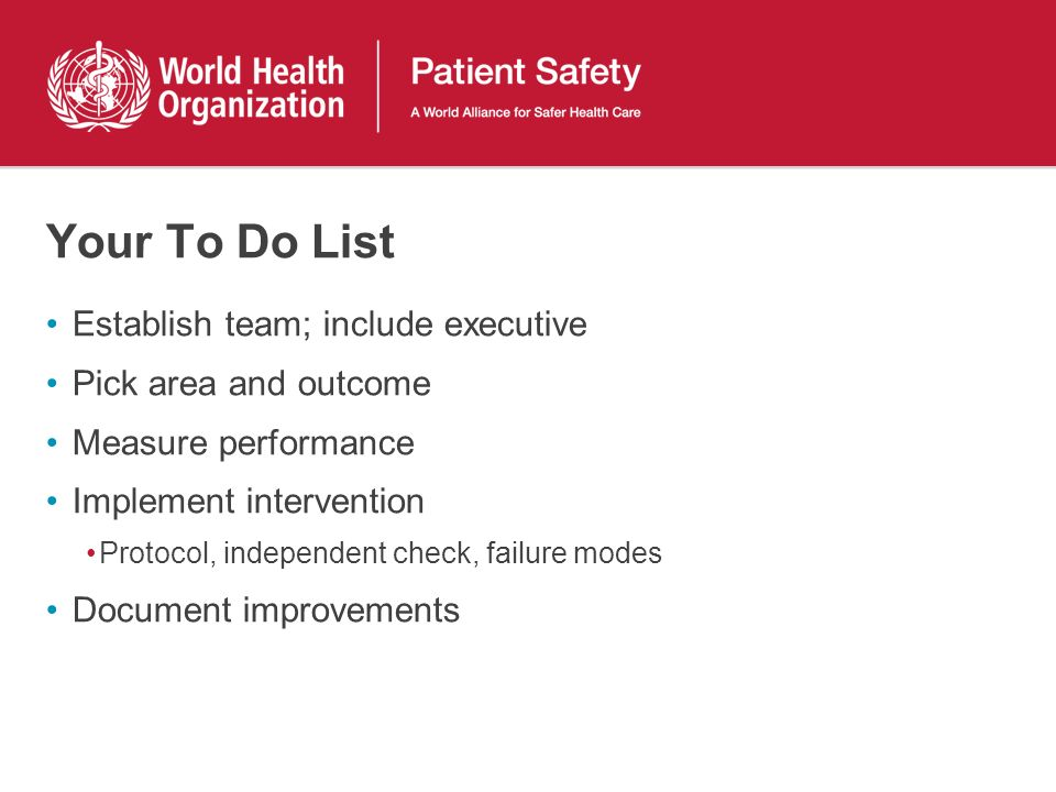 Your To Do List Establish team; include executive