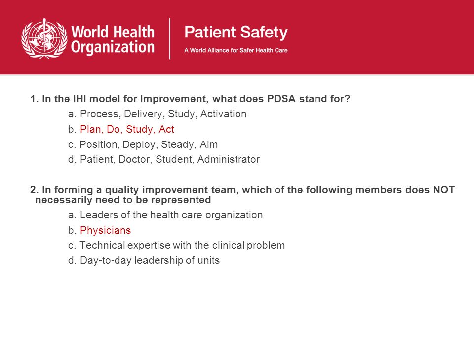 1. In the IHI model for Improvement, what does PDSA stand for