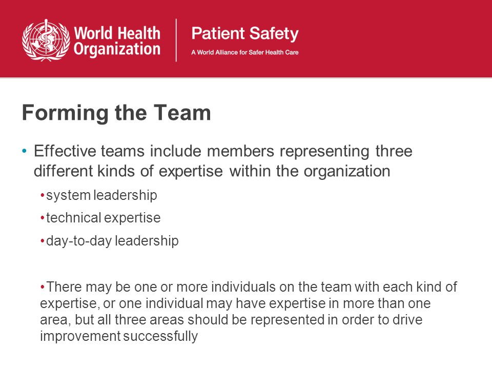 Forming the Team Effective teams include members representing three different kinds of expertise within the organization.