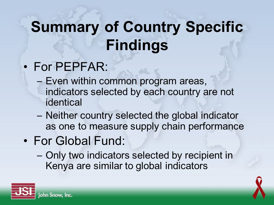 Summary of Country Specific Findings