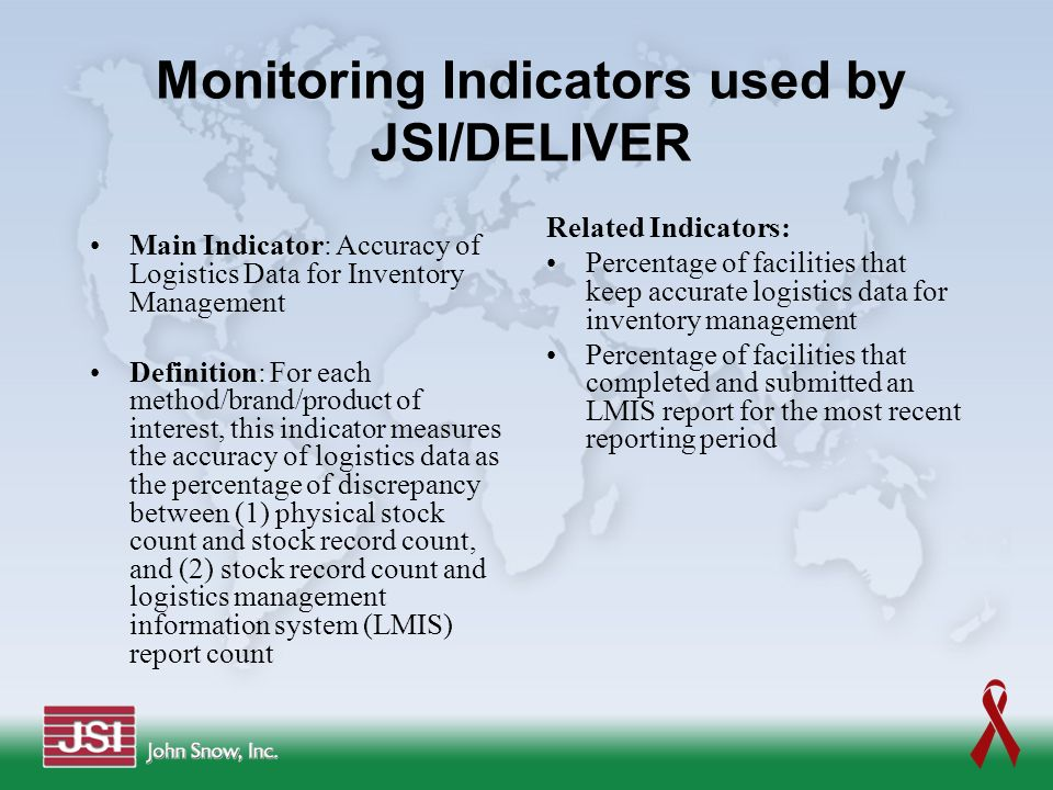 Monitoring Indicators used by JSI/DELIVER
