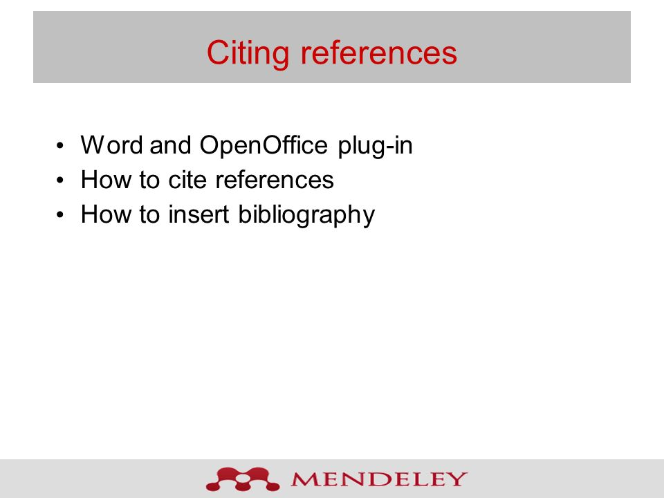 Citing references Word and OpenOffice plug-in How to cite references