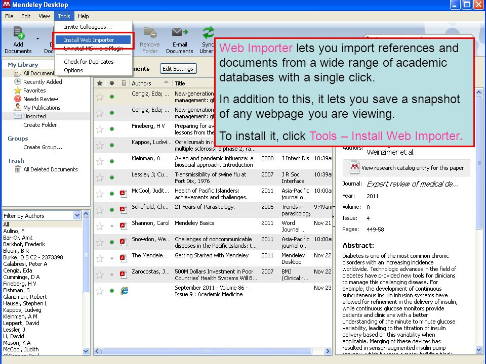 Web Importer lets you import references and documents from a wide range of academic databases with a single click.