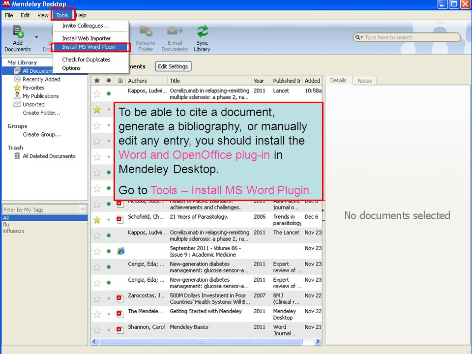 To be able to cite a document, generate a bibliography, or manually edit any entry, you should install the Word and OpenOffice plug-in in Mendeley Desktop.