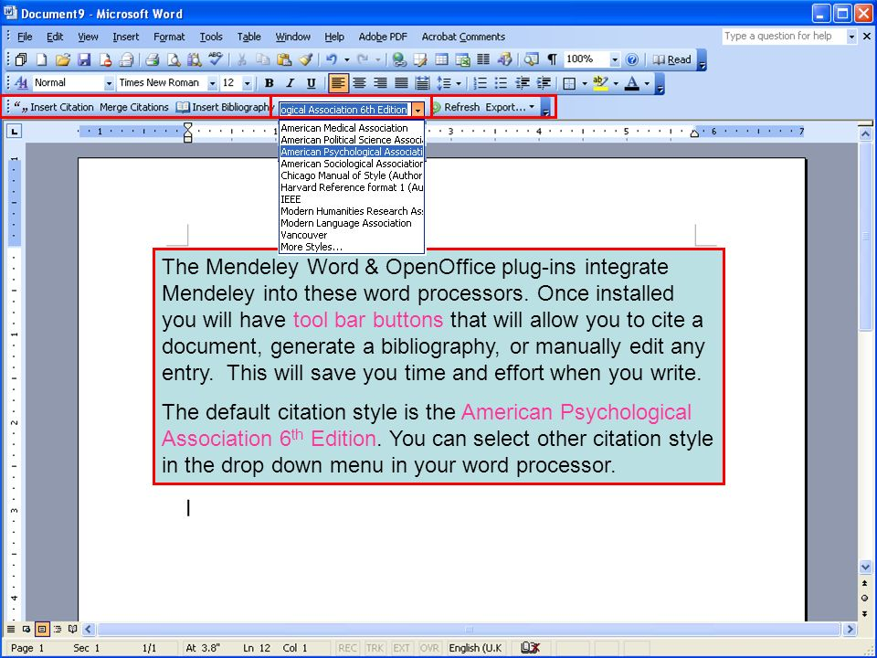 The Mendeley Word & OpenOffice plug-ins integrate Mendeley into these word processors. Once installed you will have tool bar buttons that will allow you to cite a document, generate a bibliography, or manually edit any entry. This will save you time and effort when you write.