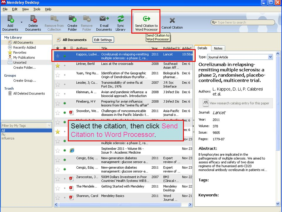 Select the citation, then click Send Citation to Word Processor.