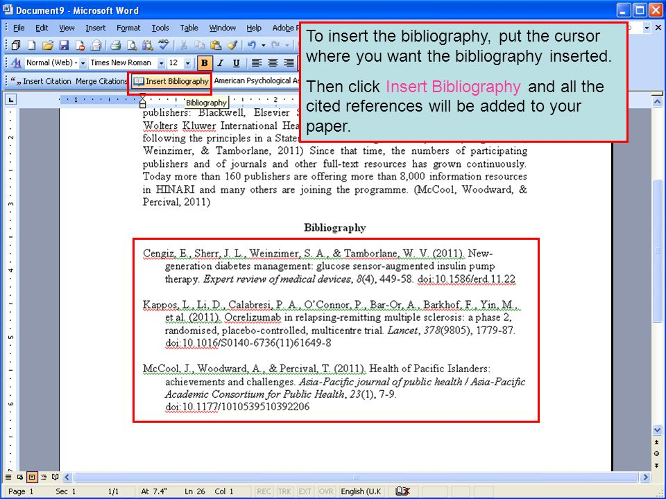 To insert the bibliography, put the cursor where you want the bibliography inserted.