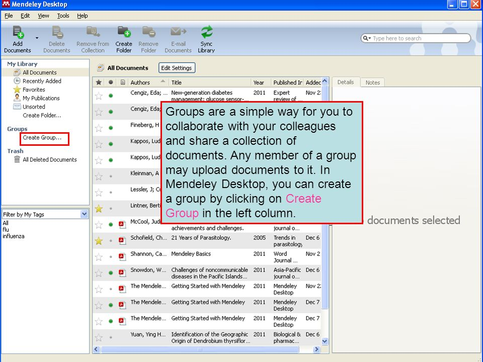 Groups are a simple way for you to collaborate with your colleagues and share a collection of documents.