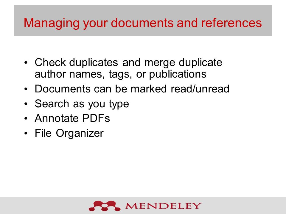 Managing your documents and references