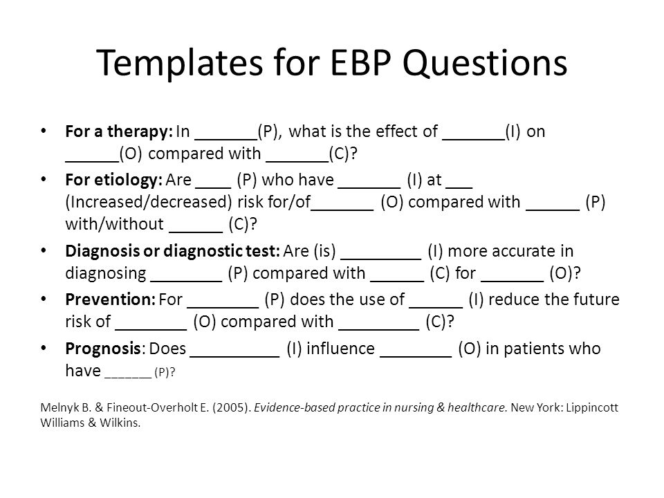 Templates for EBP Questions