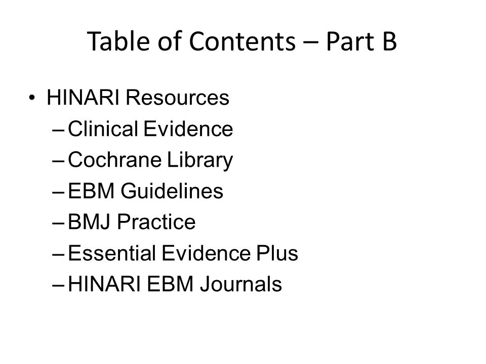 Table of Contents – Part B