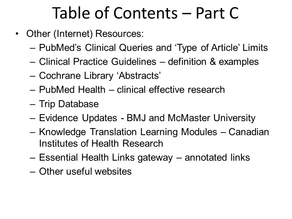 Table of Contents – Part C