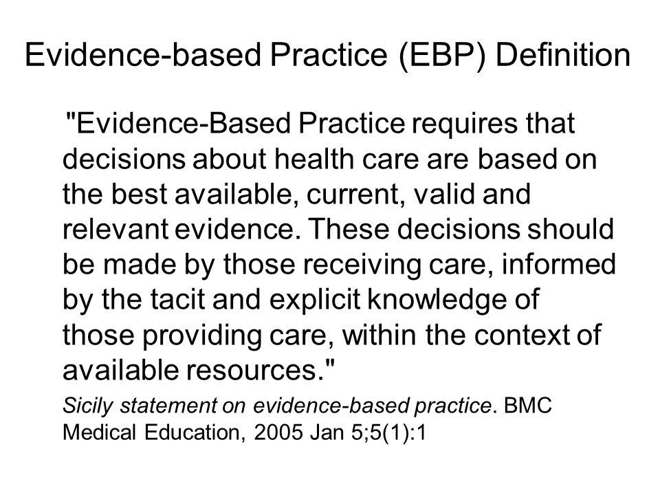 Evidence-based Practice (EBP) Definition
