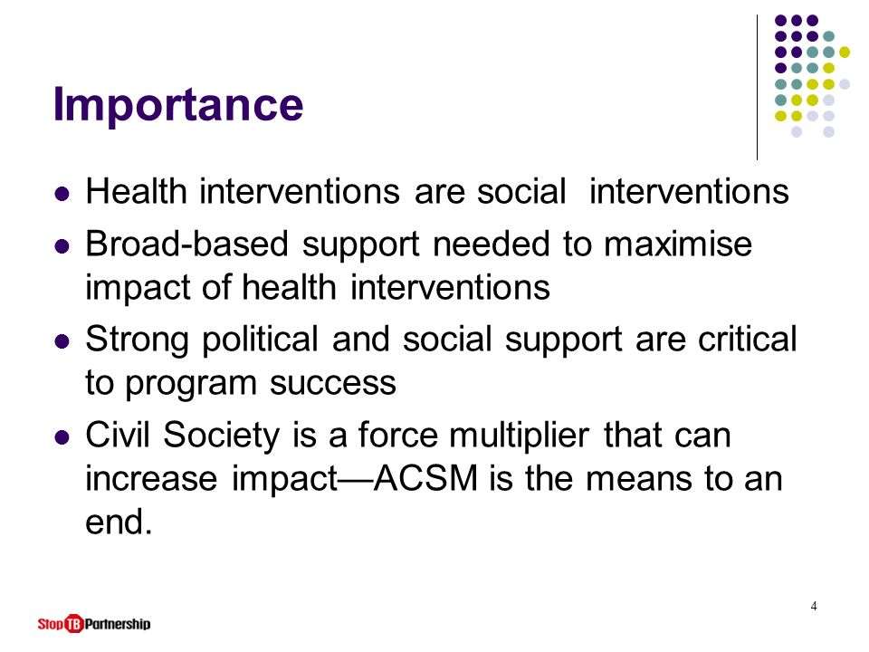 Importance Health interventions are social interventions