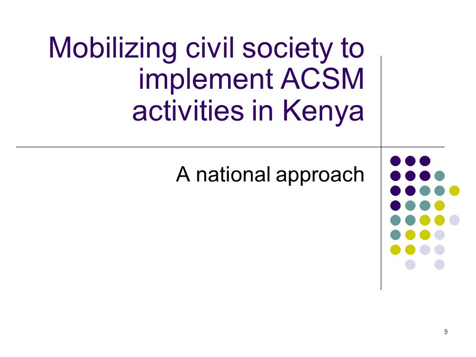 Mobilizing civil society to implement ACSM activities in Kenya