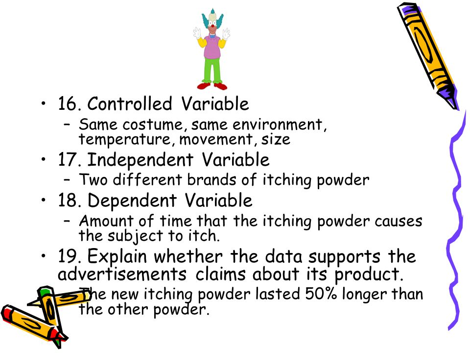 how to find independant and controlled variables