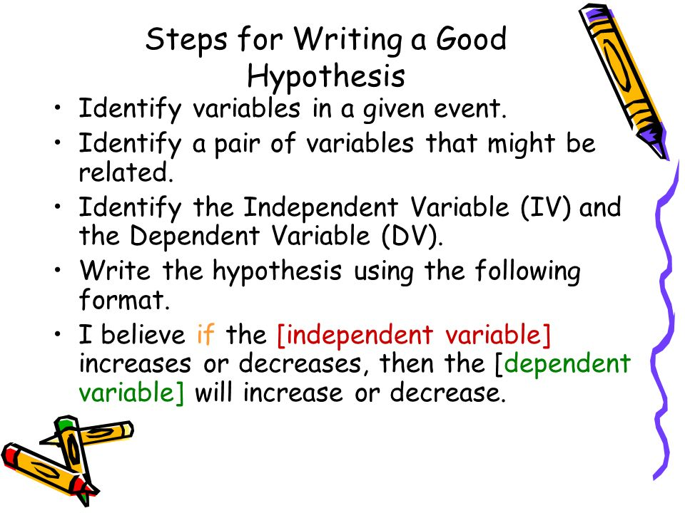 writing good hypothesis That doesn't sound so bad, does it learning how to write a hypothesis for your badass research paper isn't that bad, either here's what to do.