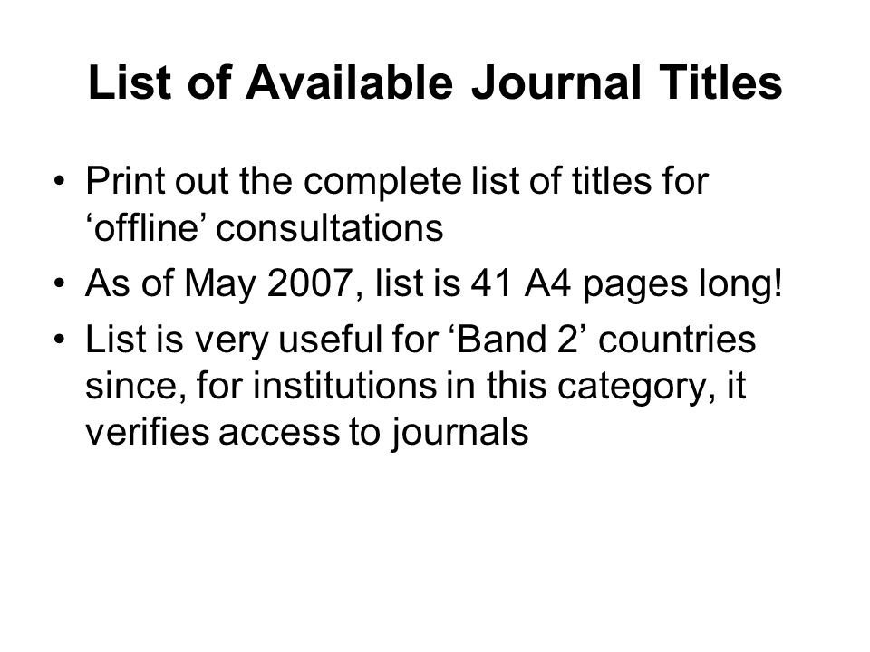 List of Available Journal Titles