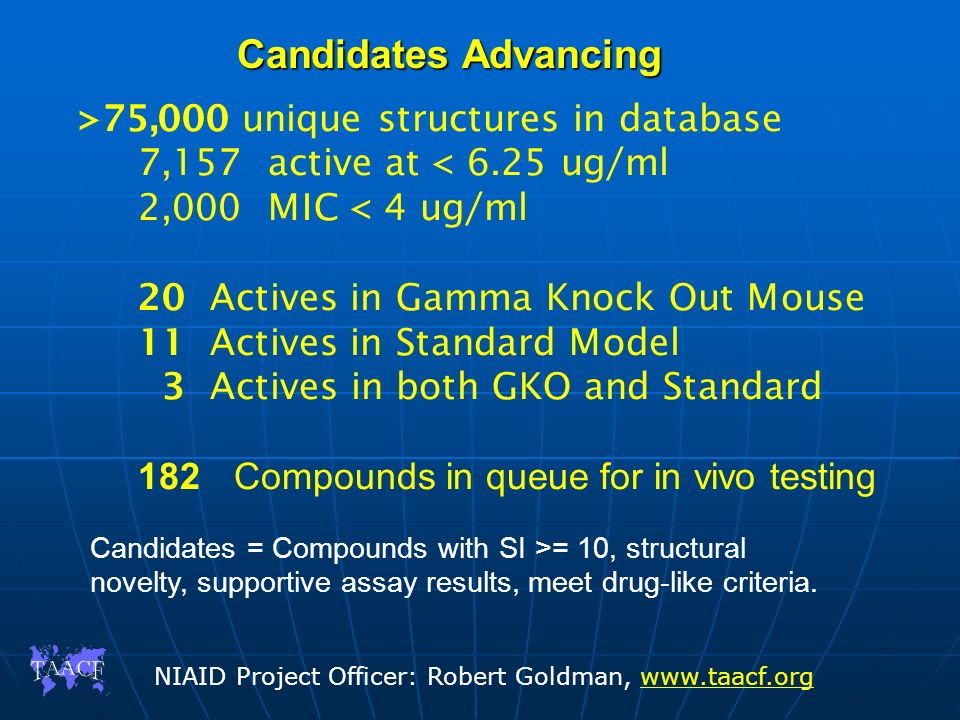 Candidates Advancing >75,000 unique structures in database
