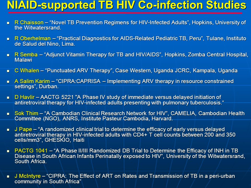 NIAID-supported TB HIV Co-infection Studies