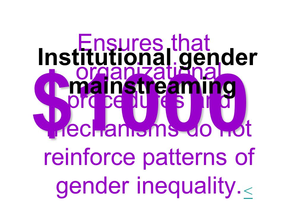 Institutional gender mainstreaming