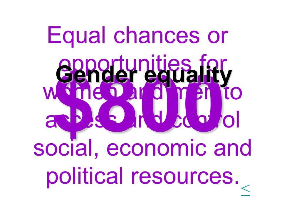 Equal chances or opportunities for women and men to access and control social, economic and political resources.