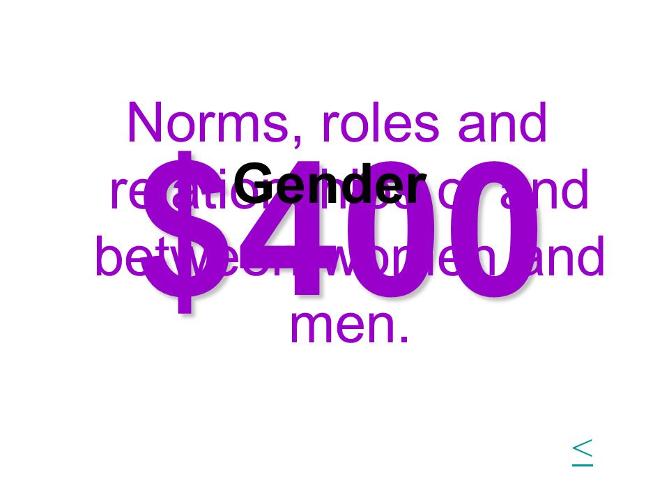 Norms, roles and relationships of and between women and men.