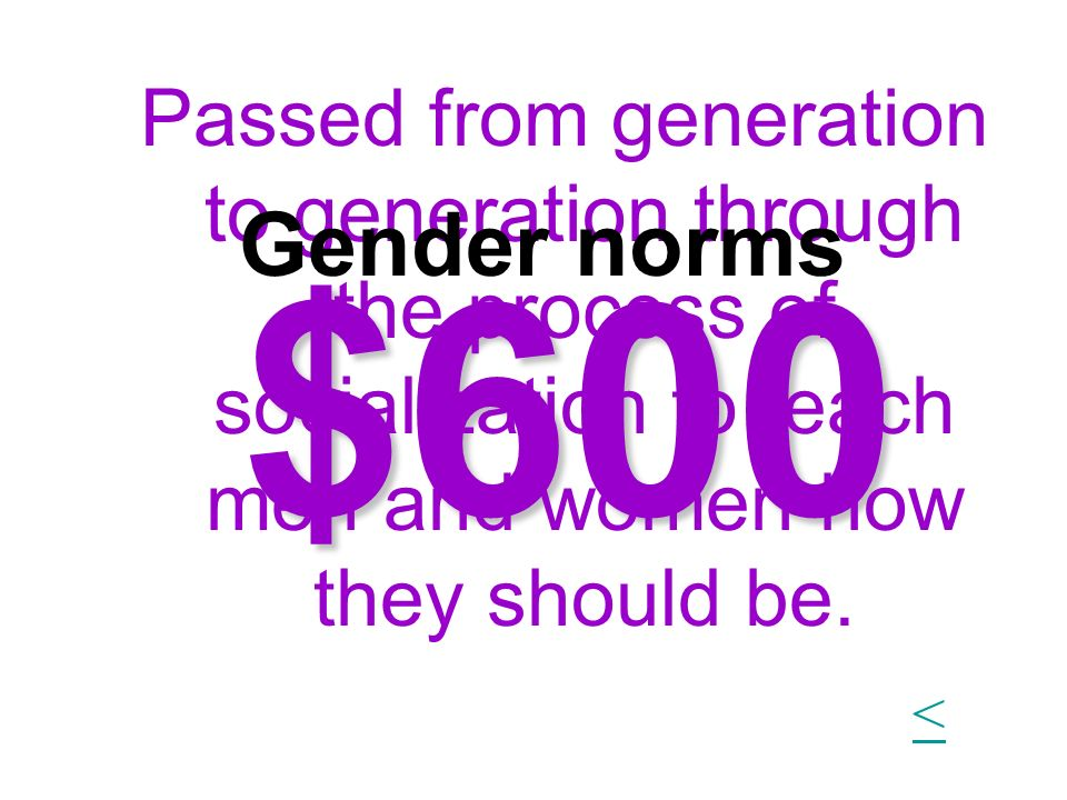 Passed from generation to generation through the process of socialization to teach men and women how they should be.