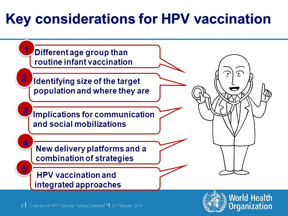 Key considerations for HPV vaccination